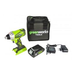 GreenWorks 24V аккумуляторный шуруповерт G24ID, с аккумулятором 2 Ah и зарядным устройством