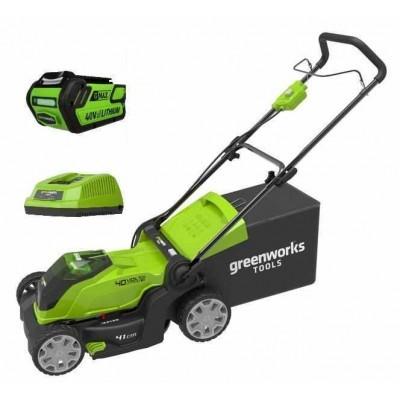 Газонокосилка аккумуляторная Greenworks G40LM41K4 (c АБ 4 Ah и ЗУ)