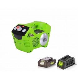 Greenworks 24V аккумуляторный воздушный компрессор G-MAX 8 бар, с аккумулятором 2 Ah и зарядным устройством