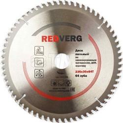 Диск пильный по ламинату RedVerg твердосплавный 235х30 мм, 64 зуба(800531)