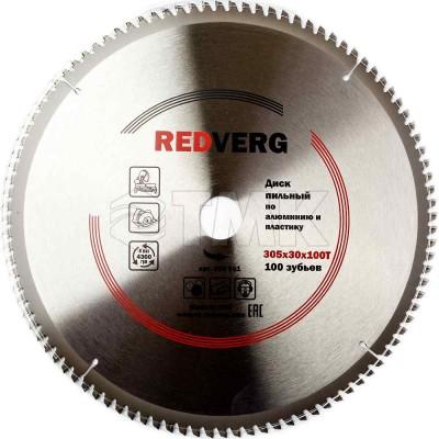 Диск пильный по алюминию и пластику RedVerg твердосплавный 305х30/25,4 мм, 100 зубьев(800661)