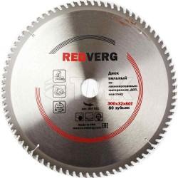 Диск пильный по ламинату RedVerg твердосплавный 300х32/30 мм, 80 зубьев(800551)