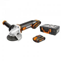 WORX 20V Угловая шлифмашина аккумуляторная WX803, 125 мм, комплект с 2 АКБ 2 Ah и ЗУ, кейс