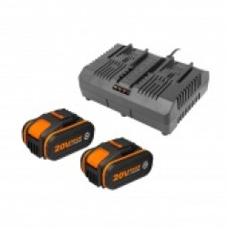 WORX 20V Комплект WA3611: Двойное зарядное устройство WA3883 + 2 Аккумулятора 4.0 А/ч