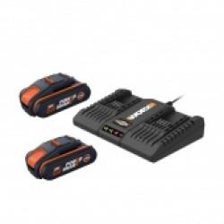 WORX 20V Комплект WA3610: Двойное зарядное устройство WA3869 + 2 Аккумулятора 2.0 А/ч